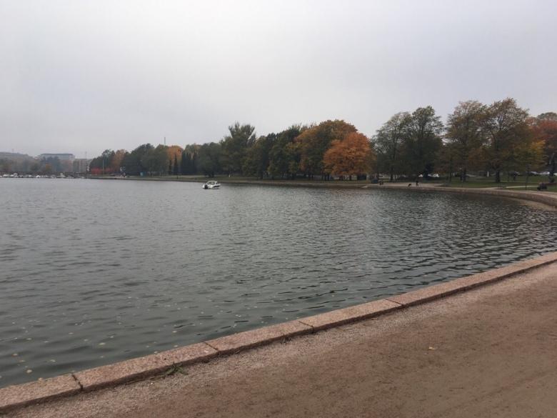 Kuva Tokoinrannasta, puista ja veneesta merenladella.