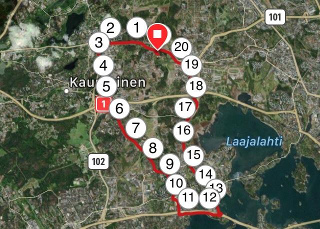 Kuva, jossa puolimaratonin mittainen lenkki piirretty kartalle.