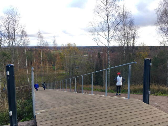 Kuva, jossa juoksijat harjoittelevat portaissa.