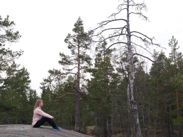 kuva, jossa haaveilua kalliolla