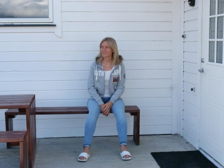 woman on a porch